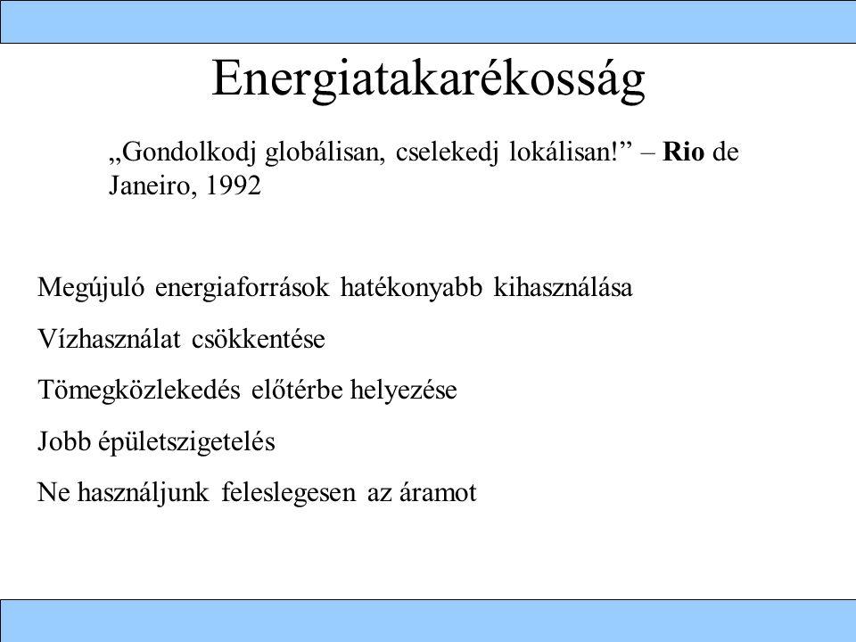 """Energiatakarékosság """"Gondolkodj globálisan, cselekedj lokálisan! – Rio de Janeiro, 1992 Megújuló energiaforrások hatékonyabb kihasználása Vízhasználat csökkentése Tömegközlekedés előtérbe helyezése Jobb épületszigetelés Ne használjunk feleslegesen az áramot"""