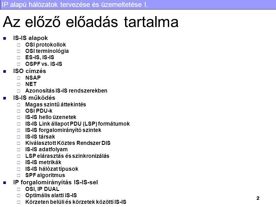 IP alapú hálózatok tervezése és üzemeltetése I. 23 TCP reno