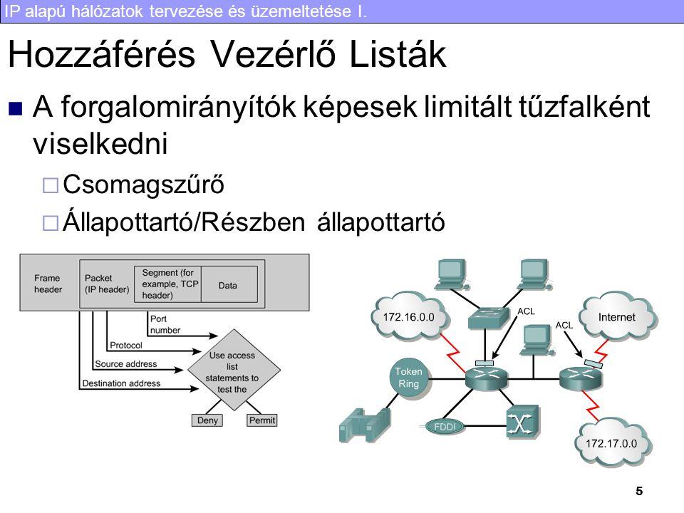 IP alapú hálózatok tervezése és üzemeltetése I.36 A félév áttekintése VII.