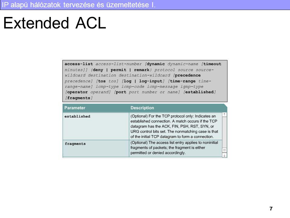 IP alapú hálózatok tervezése és üzemeltetése I. 7 Extended ACL