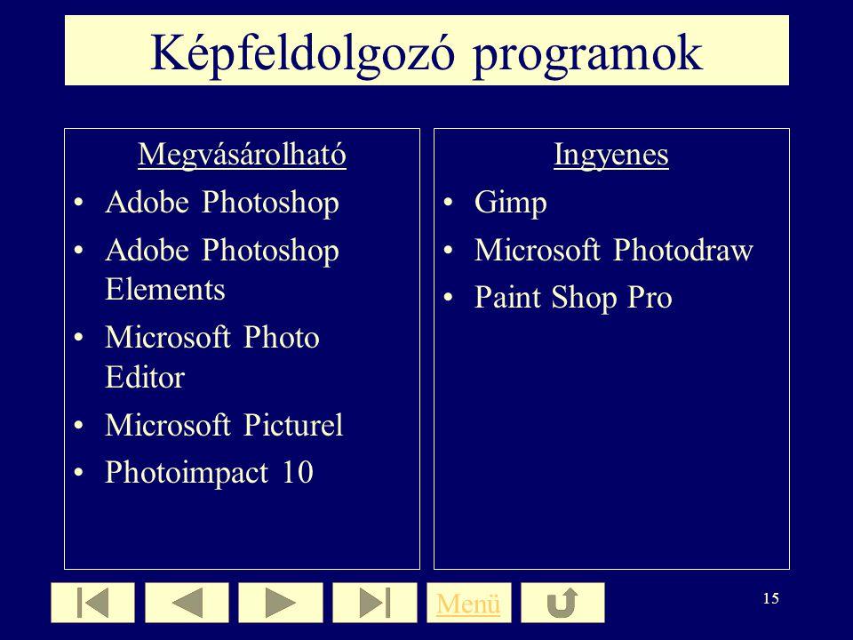 14 Utómunka számítógépen Hibák javítása Képek méretének csökkentése Montázsok készítése Képek átalakítása Menü