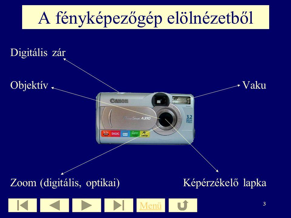 2 Tartalomjegyzék A fényképezőgép elölnézetbőlA fényképezőgép elölnézetből A fényképezőgép hátulnézetbőlA fényképezőgép hátulnézetből Csatlakozók Képp