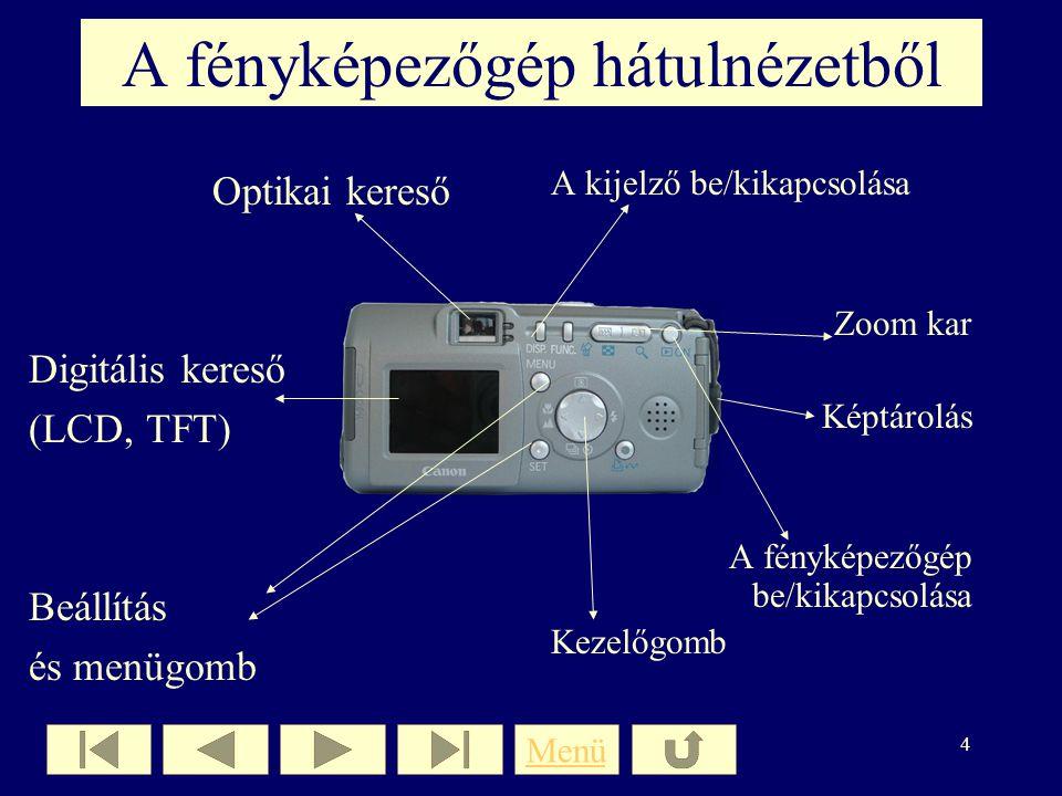 3 A fényképezőgép elölnézetből Digitális zár Objektív Zoom (digitális, optikai) Vaku Képérzékelő lapka Menü