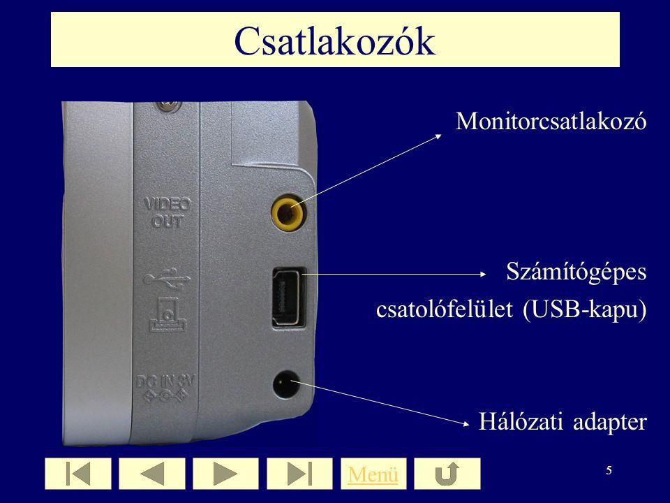 4 A fényképezőgép hátulnézetből Optikai kereső Digitális kereső (LCD, TFT) Beállítás és menügomb A kijelző be/kikapcsolása Zoom kar Képtárolás A fényk