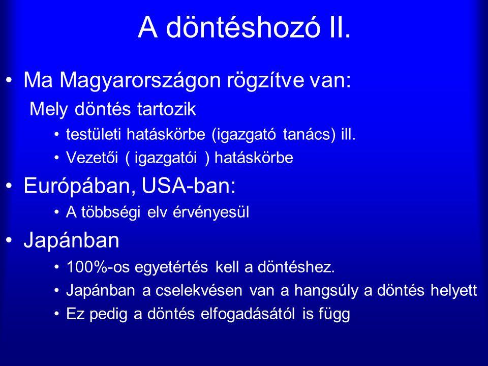 A döntéshozó II. Ma Magyarországon rögzítve van: Mely döntés tartozik testületi hatáskörbe (igazgató tanács) ill. Vezetői ( igazgatói ) hatáskörbe Eur