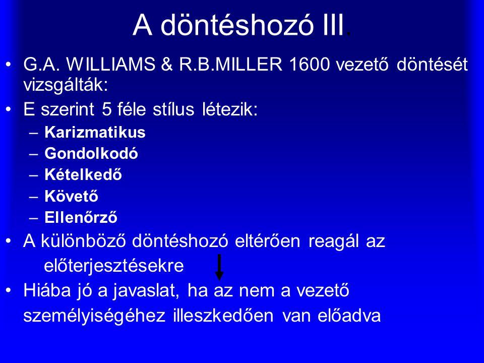 A döntéshozó III. G.A. WILLIAMS & R.B.MILLER 1600 vezető döntését vizsgálták: E szerint 5 féle stílus létezik: –Karizmatikus –Gondolkodó –Kételkedő –K