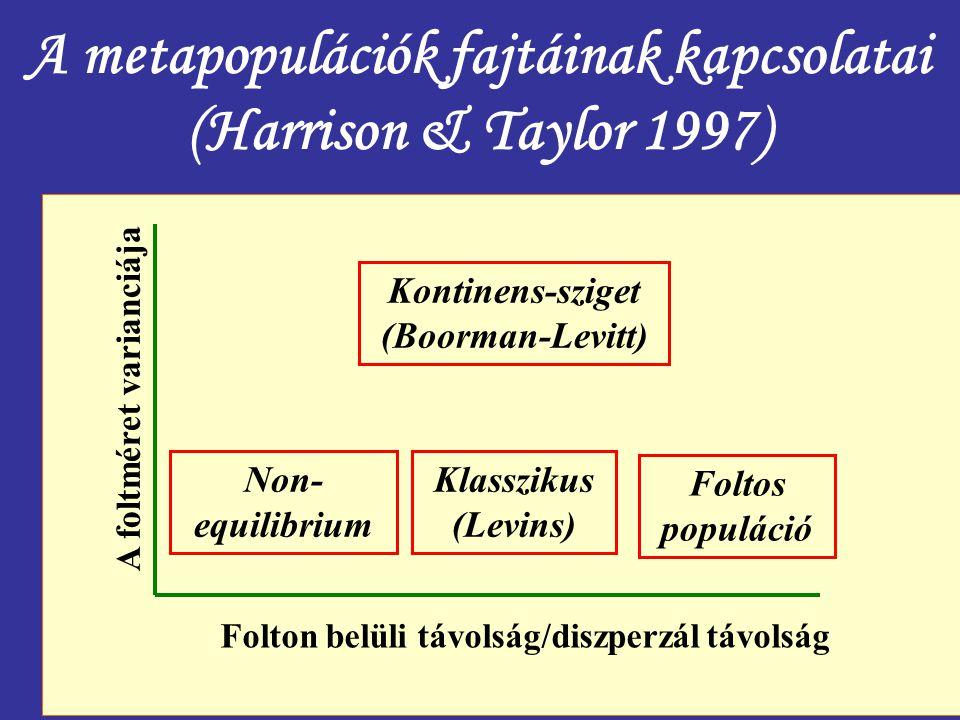A metapopulációk fajtáinak kapcsolatai (Harrison & Taylor 1997) Folton belüli távolság/diszperzál távolság A foltméret varianciája Non- equilibrium Kl