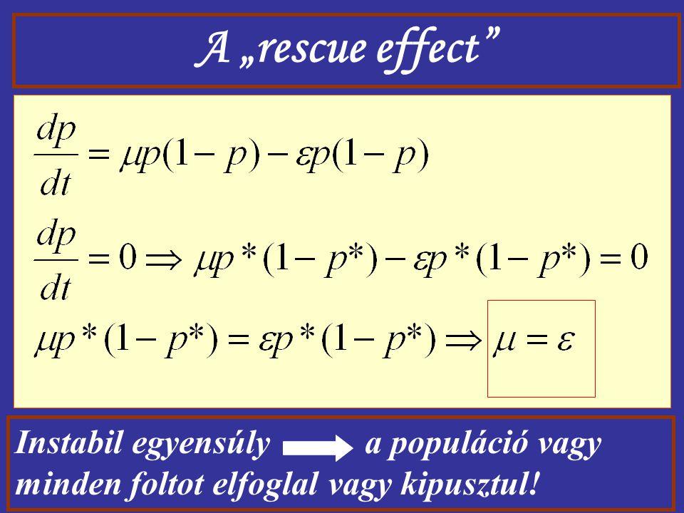 """A """"rescue effect"""" Instabil egyensúly a populáció vagy minden foltot elfoglal vagy kipusztul!"""