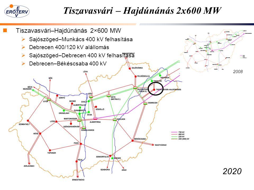 Tiszavasvári – Hajdúnánás 2x600 MW Tiszavasvári–Hajdúnánás 2×600 MW  Sajószöged–Munkács 400 kV felhasítása  Debrecen 400/120 kV alállomás  Sajószöged–Debrecen 400 kV felhasítása  Debrecen–Békéscsaba 400 kV 2008 2020
