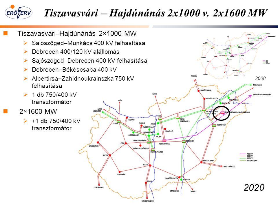 Tiszavasvári – Hajdúnánás 2x1000 v. 2x1600 MW Tiszavasvári–Hajdúnánás 2×1000 MW  Sajószöged–Munkács 400 kV felhasítása  Debrecen 400/120 kV alállomá