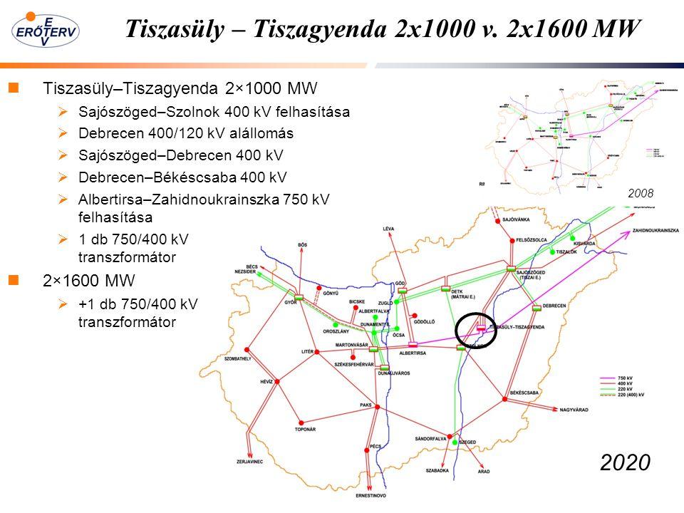 Tiszasüly – Tiszagyenda 2x1000 v. 2x1600 MW Tiszasüly–Tiszagyenda 2×1000 MW  Sajószöged–Szolnok 400 kV felhasítása  Debrecen 400/120 kV alállomás 