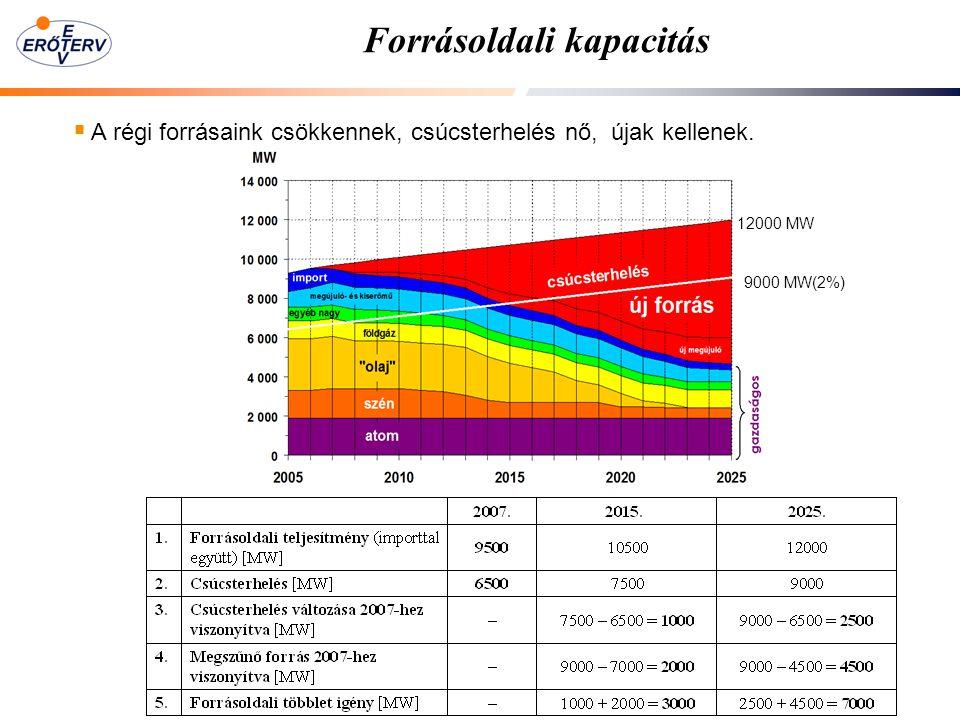 12000 MW Forrásoldali kapacitás  A régi forrásaink csökkennek, csúcsterhelés nő, újak kellenek. 9000 MW(2%)