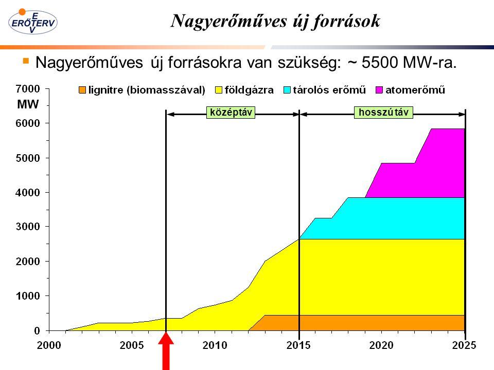 Nagyerőműves új források  Nagyerőműves új forrásokra van szükség: ~ 5500 MW-ra. középtávhosszú táv MW