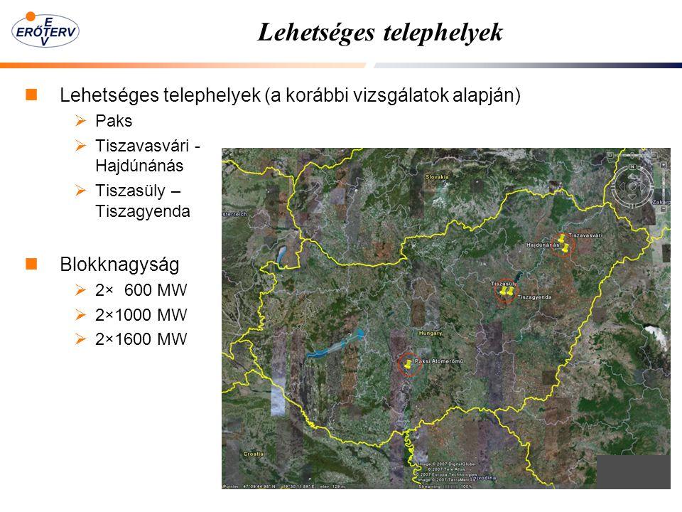 Lehetséges telephelyek Lehetséges telephelyek (a korábbi vizsgálatok alapján)  Paks  Tiszavasvári - Hajdúnánás  Tiszasüly – Tiszagyenda Blokknagyság  2× 600 MW  2×1000 MW  2×1600 MW