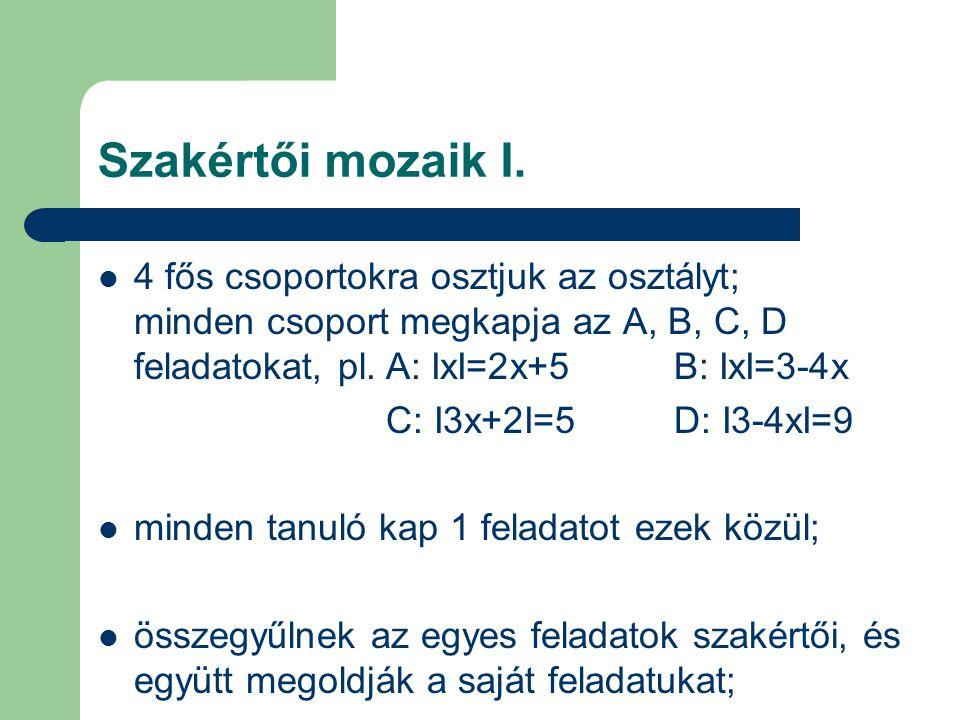 Szakértői mozaik I. 4 fős csoportokra osztjuk az osztályt; minden csoport megkapja az A, B, C, D feladatokat, pl.A: ІxІ=2x+5B: ІxІ=3-4x C: І3x+2І=5 D: