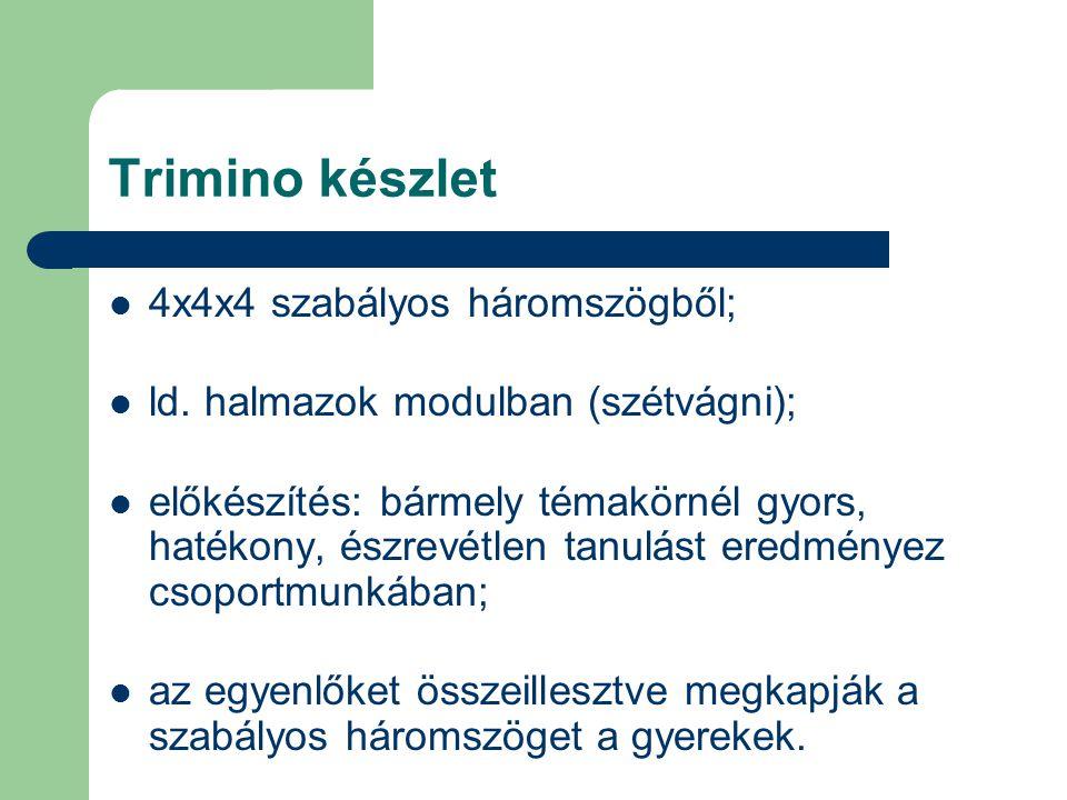 Trimino készlet 4x4x4 szabályos háromszögből; ld. halmazok modulban (szétvágni); előkészítés: bármely témakörnél gyors, hatékony, észrevétlen tanulást