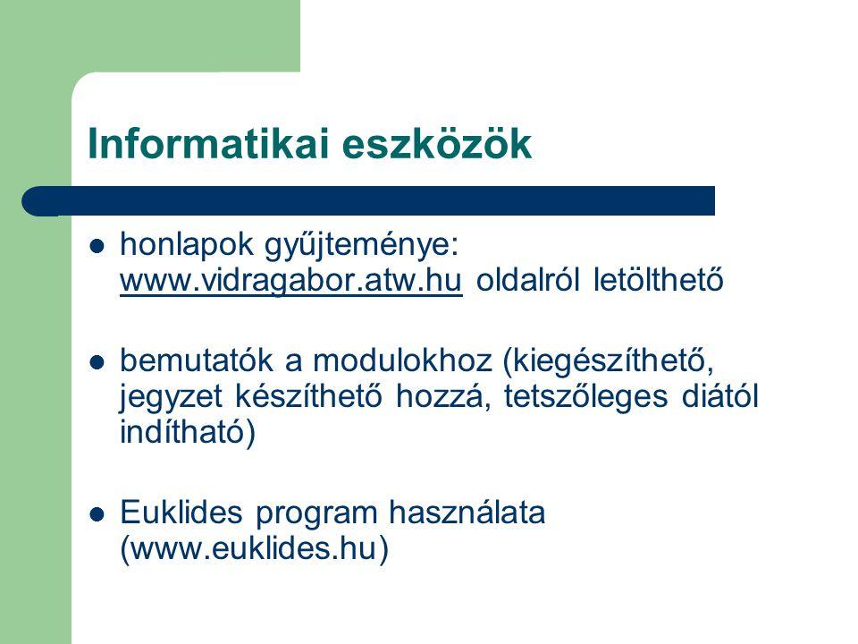 Informatikai eszközök honlapok gyűjteménye: www.vidragabor.atw.hu oldalról letölthető www.vidragabor.atw.hu bemutatók a modulokhoz (kiegészíthető, jeg