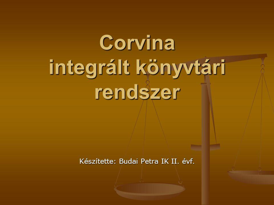 A Corvina célja  a könyvtárak jellemző funkcióinak kiszolgálása mérettől és számítógépes platformoktól függetlenül  szabványok széleskörű alkalmazásával a könyvtárak közötti együttműködés támogatása (közös katalógusépítés, rekordletöltés, könyvtárközi kölcsönzés, dokumentumszolgáltatás)  adatok további felhasználásának elősegítése a nyílt, szabványos, jól dokumentált kezelőfelületek biztosításával