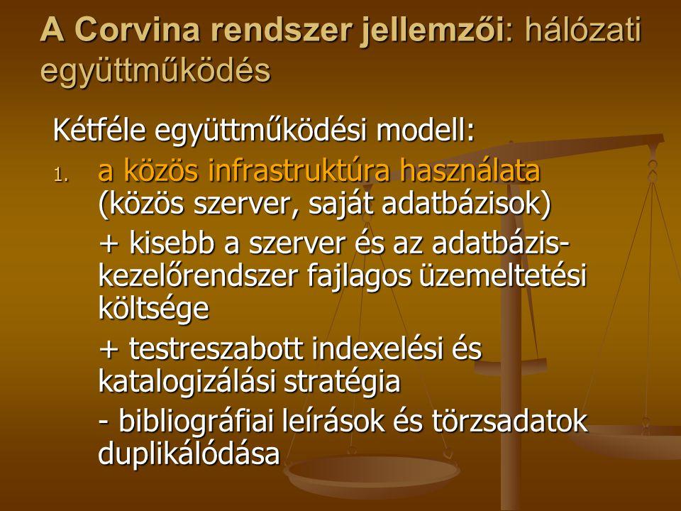 A Corvina rendszer jellemzői: hálózati együttműködés 2.