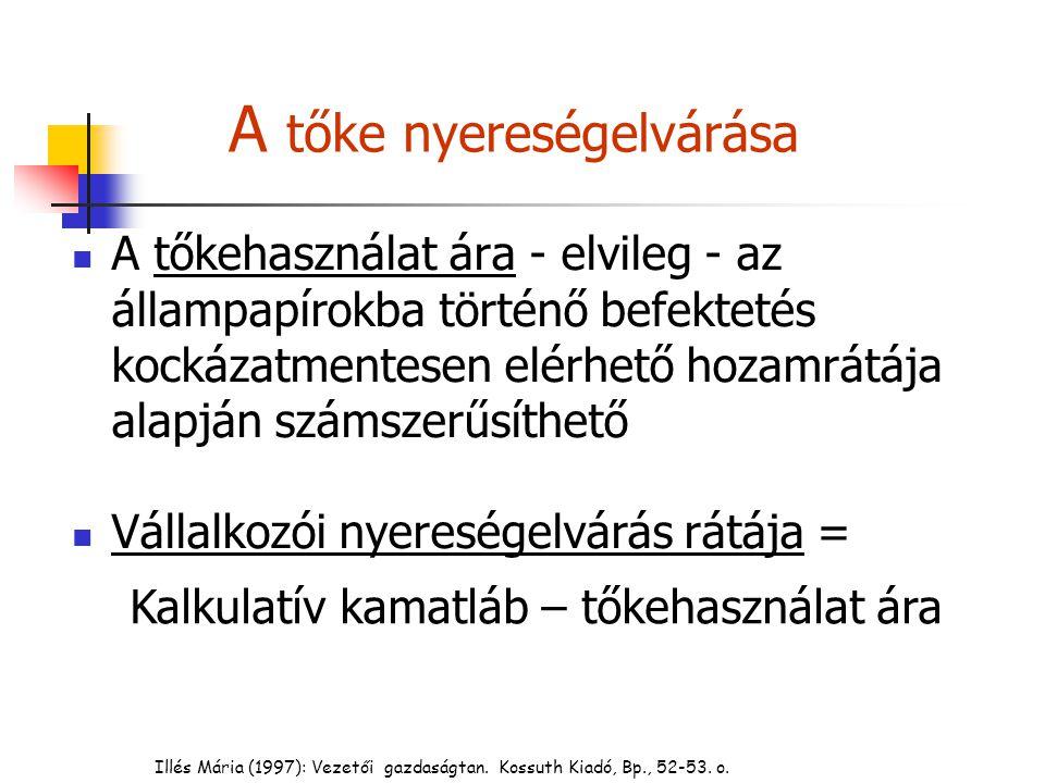 Illés Mária (1997): Vezetői gazdaságtan. Kossuth Kiadó, Bp., 52-53. o. A tőke nyereségelvárása A tőkehasználat ára - elvileg - az állampapírokba törté