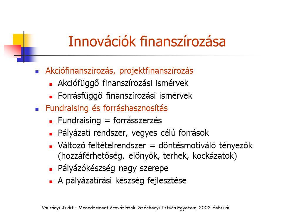 Innovációk finanszírozása Akciófinanszírozás, projektfinanszírozás Akciófüggő finanszírozási ismérvek Forrásfüggő finanszírozási ismérvek Fundraising