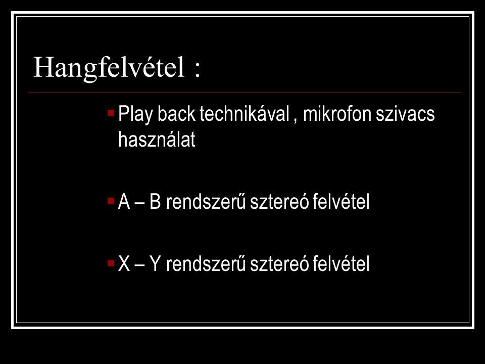 Hangfelvétel :  Play back technikával, mikrofon szivacs használat  A – B rendszerű sztereó felvétel  X – Y rendszerű sztereó felvétel