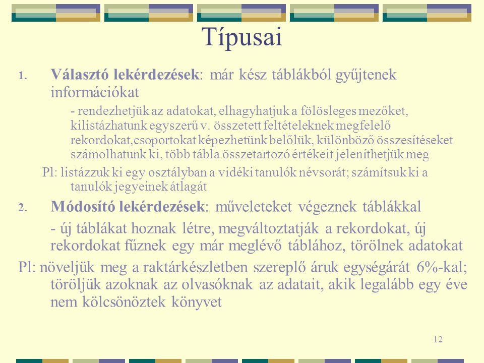 12 Típusai 1.