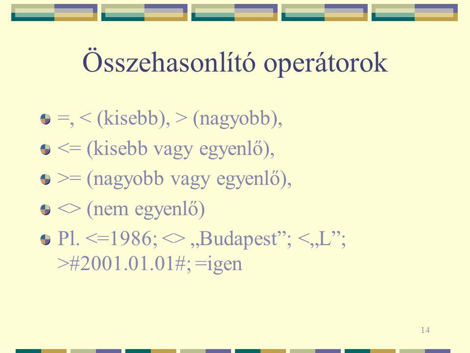 14 Összehasonlító operátorok =, (nagyobb), <= (kisebb vagy egyenlő), >= (nagyobb vagy egyenlő), <> (nem egyenlő) Pl.