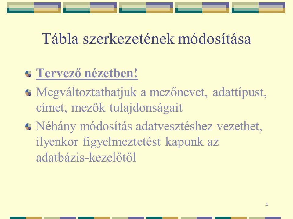 4 Tábla szerkezetének módosítása Tervező nézetben.