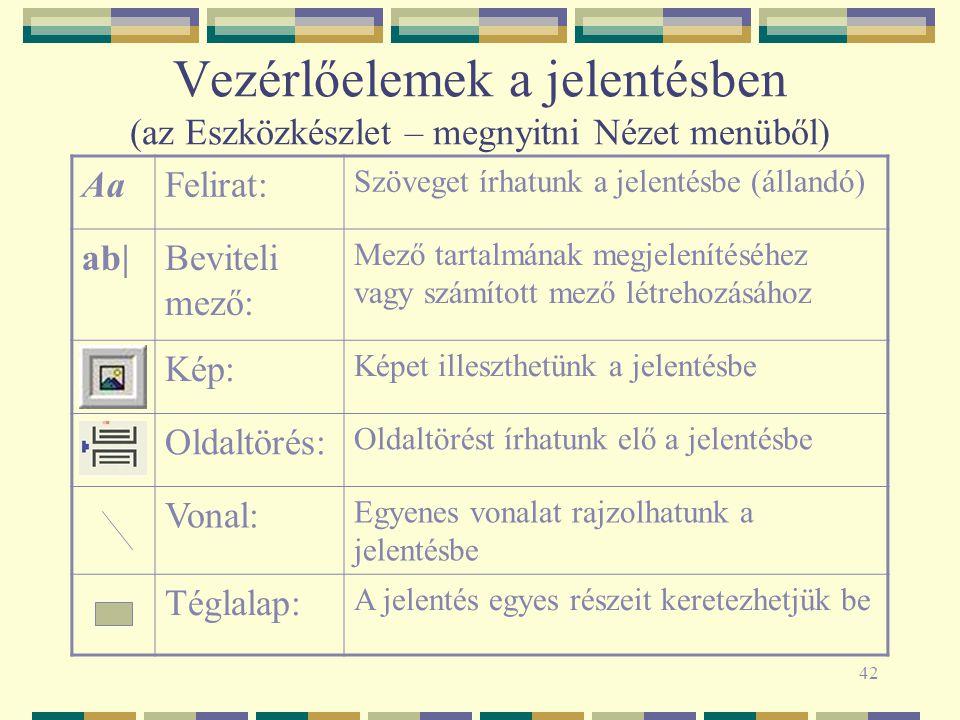 42 Vezérlőelemek a jelentésben (az Eszközkészlet – megnyitni Nézet menüből) AaFelirat: Szöveget írhatunk a jelentésbe (állandó) ab|Beviteli mező: Mező tartalmának megjelenítéséhez vagy számított mező létrehozásához Kép: Képet illeszthetünk a jelentésbe Oldaltörés: Oldaltörést írhatunk elő a jelentésbe Vonal: Egyenes vonalat rajzolhatunk a jelentésbe Téglalap: A jelentés egyes részeit keretezhetjük be