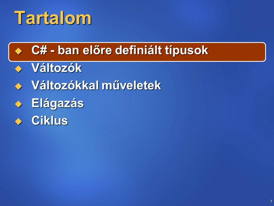 13 Érték paraméter public int Function4(int d) { d *= 2; return d; } private void button4_Click(object sender, System { int dd = 15; label1.Text = new Teszt().Function4(dd).