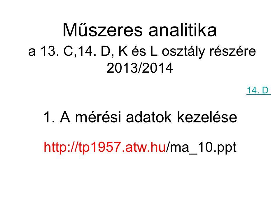 1. A mérési adatok kezelése http://tp1957.atw.hu/ma_10.ppt Műszeres analitika a 13. C,14. D, K és L osztály részére 2013/2014 14. D