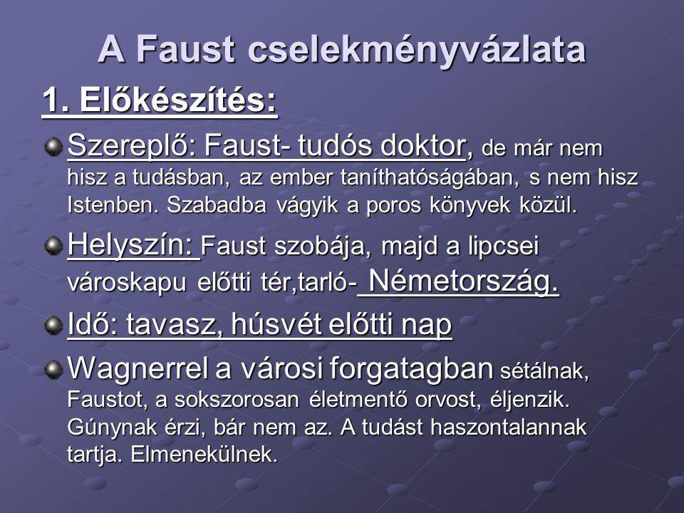 A Faust cselekményvázlata 1. Előkészítés: Szereplő: Faust- tudós doktor, de már nem hisz a tudásban, az ember taníthatóságában, s nem hisz Istenben. S