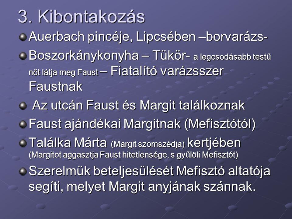 3. Kibontakozás Auerbach pincéje, Lipcsében –borvarázs- Boszorkánykonyha – Tükör- a legcsodásabb testű nőt látja meg Faust – Fiatalító varázsszer Faus