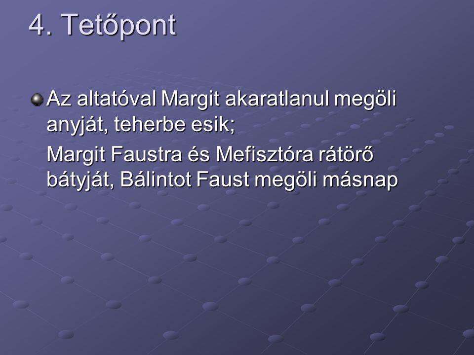 4. Tetőpont Az altatóval Margit akaratlanul megöli anyját, teherbe esik; Margit Faustra és Mefisztóra rátörő bátyját, Bálintot Faust megöli másnap