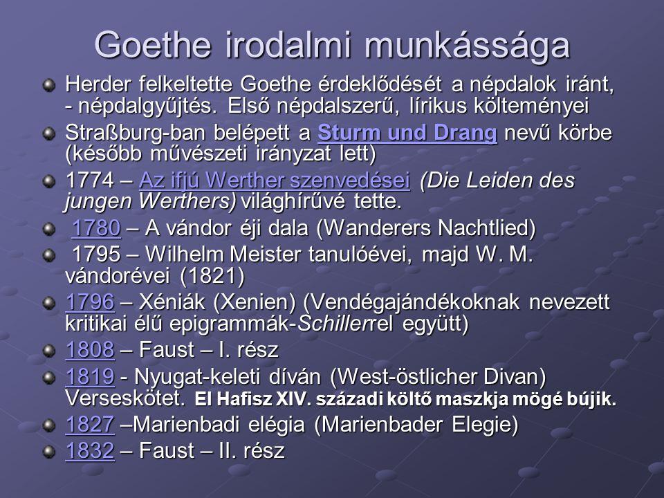 Goethe irodalmi munkássága Herder felkeltette Goethe érdeklődését a népdalok iránt, - népdalgyűjtés. Első népdalszerű, lírikus költeményei Straßburg-b