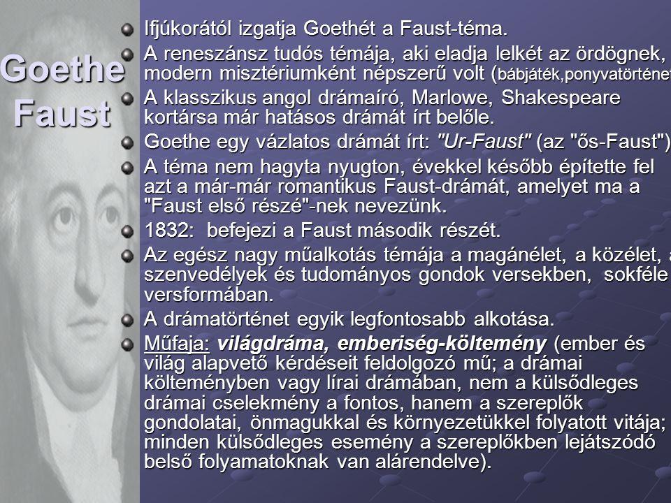 Goethe Faust Ifjúkorától izgatja Goethét a Faust-téma. A reneszánsz tudós témája, aki eladja lelkét az ördögnek, modern misztériumként népszerű volt (