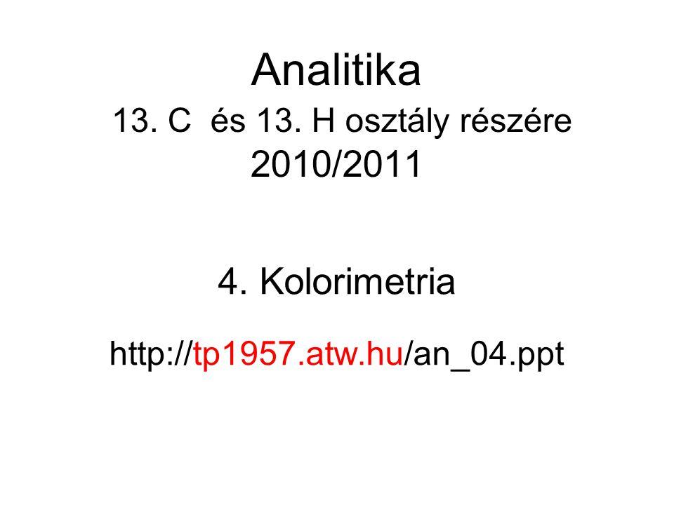 4. Kolorimetria http://tp1957.atw.hu/an_04.ppt Analitika 13. C és 13. H osztály részére 2010/2011