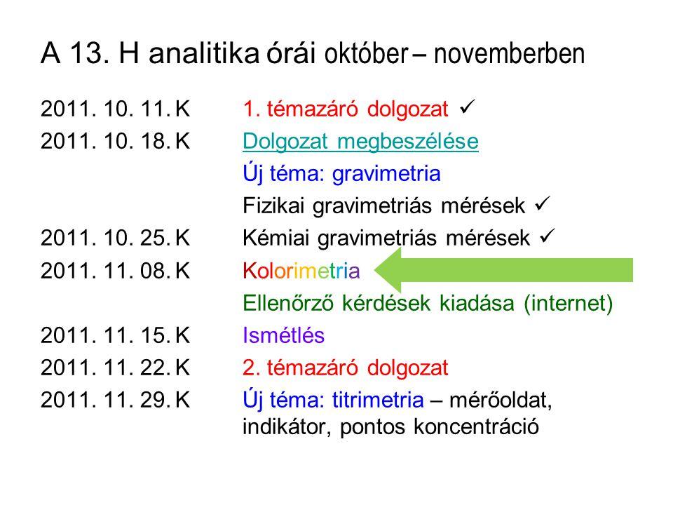 A 13. H analitika órái október – novemberben 2011. 10. 11.K1. témazáró dolgozat 2011. 10. 18.KDolgozat megbeszéléseDolgozat megbeszélése Új téma: grav