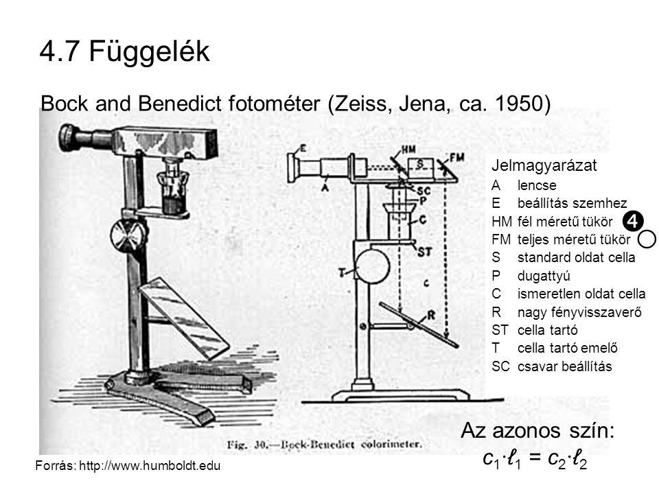 4.7 Függelék Forrás: http://www.humboldt.edu Bock and Benedict fotométer (Zeiss, Jena, ca. 1950) Jelmagyarázat Alencse Ebeállítás szemhez HMfél méretű