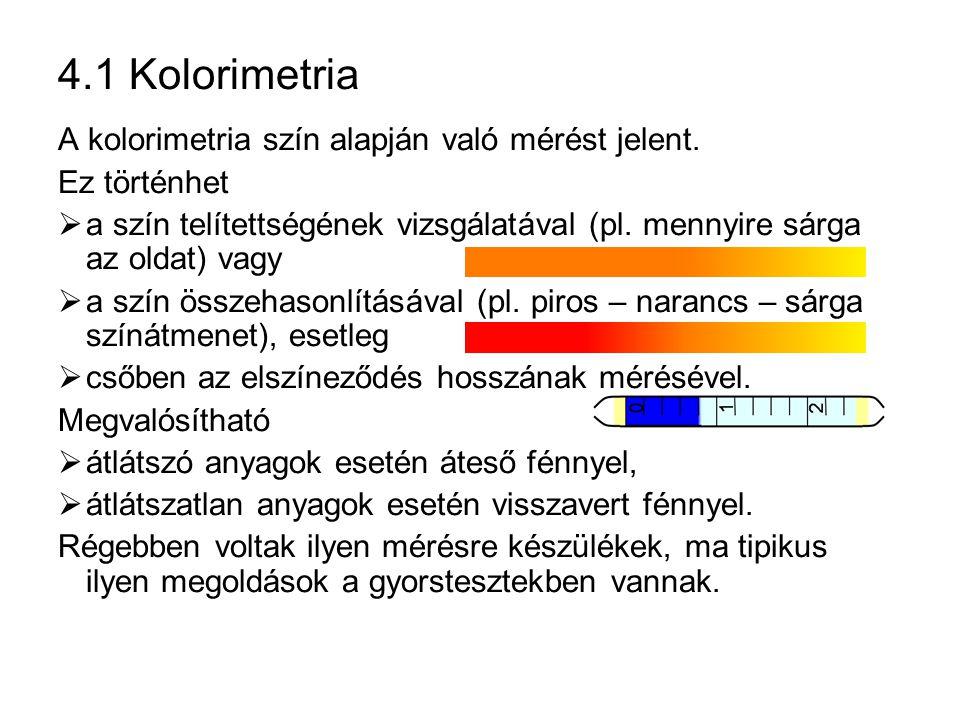 4.1 Kolorimetria A kolorimetria szín alapján való mérést jelent. Ez történhet  a szín telítettségének vizsgálatával (pl. mennyire sárga az oldat) vag