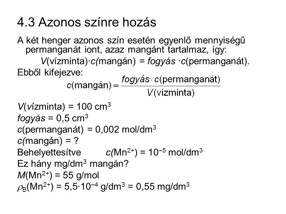 4.3 Azonos színre hozás A két henger azonos szín esetén egyenlő mennyiségű permanganát iont, azaz mangánt tartalmaz, így: V(vízminta)·c(mangán) = fogy