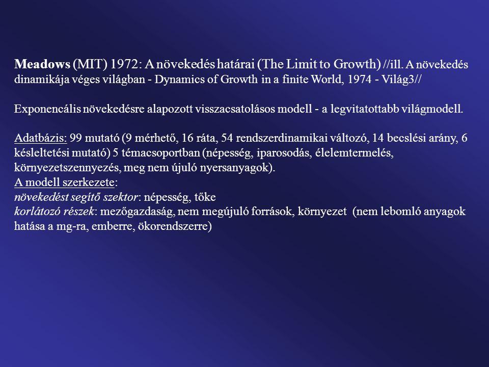 12 modell-változat (1900-2100) A Meadows modellek feltételrendszere: 1.