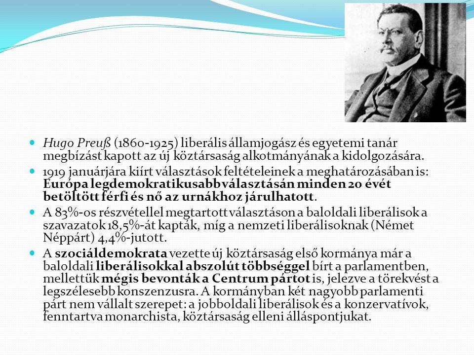 Hugo Preuß (1860-1925) liberális államjogász és egyetemi tanár megbízást kapott az új köztársaság alkotmányának a kidolgozására. 1919 januárjára kiírt