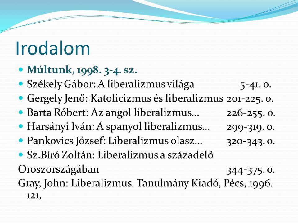 Irodalom Múltunk, 1998. 3-4. sz. Székely Gábor: A liberalizmus világa 5-41. o. Gergely Jenő: Katolicizmus és liberalizmus 201-225. o. Barta Róbert: Az