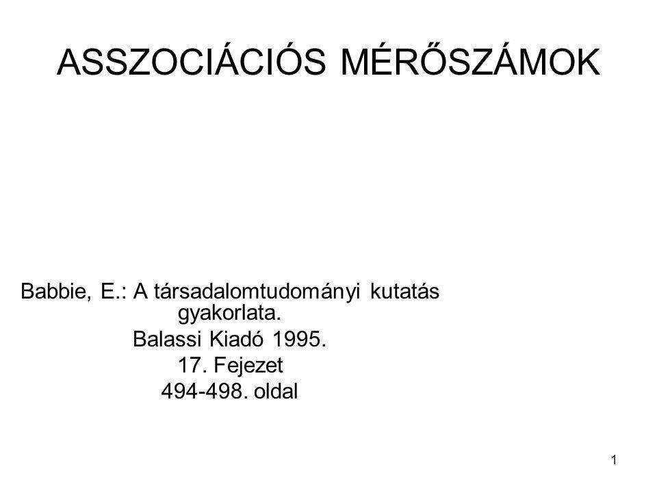 1 ASSZOCIÁCIÓS MÉRŐSZÁMOK Babbie, E.: A társadalomtudományi kutatás gyakorlata. Balassi Kiadó 1995. 17. Fejezet 494-498. oldal
