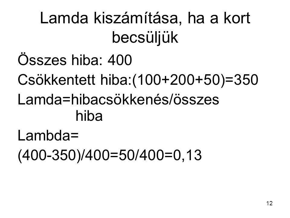 12 Lamda kiszámítása, ha a kort becsüljük Összes hiba: 400 Csökkentett hiba:(100+200+50)=350 Lamda=hibacsökkenés/összes hiba Lambda= (400-350)/400=50/