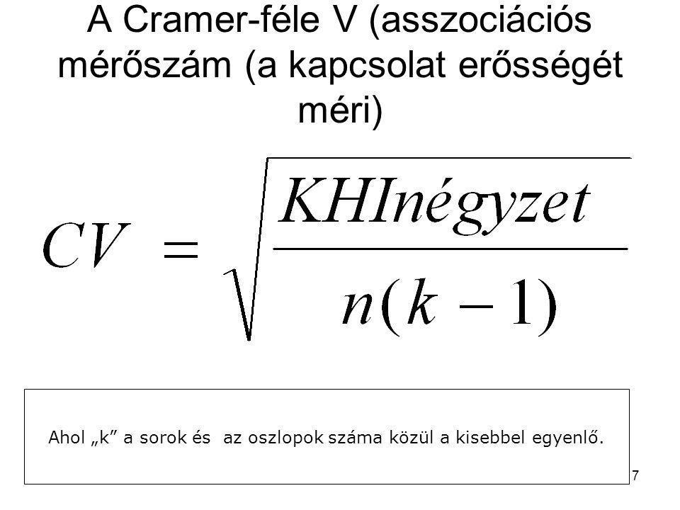 """7 A Cramer-féle V (asszociációs mérőszám (a kapcsolat erősségét méri) Ahol """"k"""" a sorok és az oszlopok száma közül a kisebbel egyenlő."""