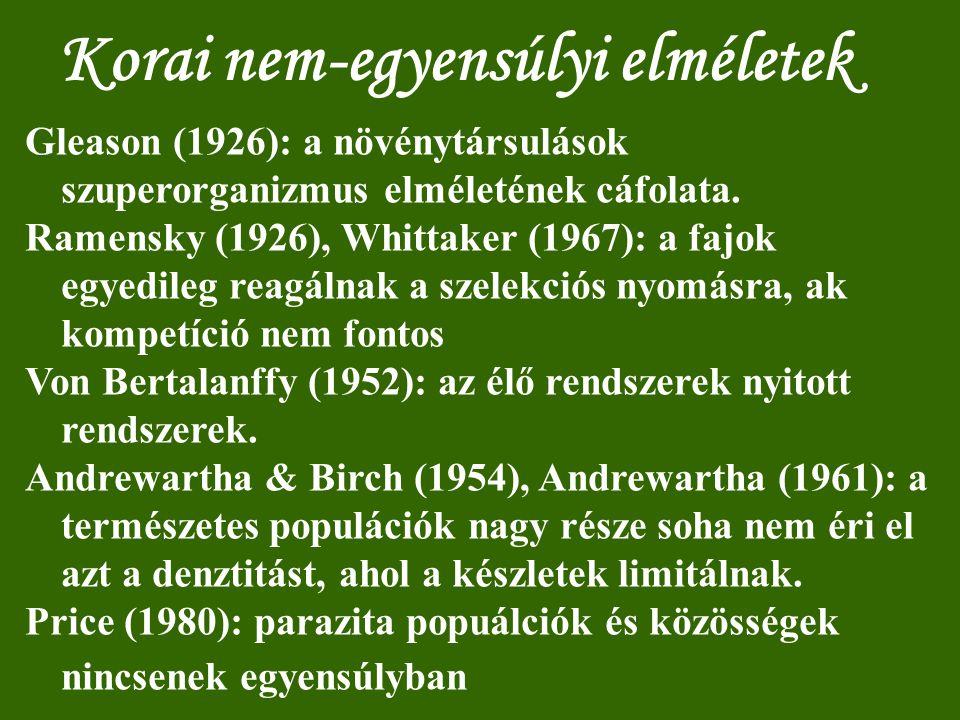 Korai nem-egyensúlyi elméletek Gleason (1926): a növénytársulások szuperorganizmus elméletének cáfolata. Ramensky (1926), Whittaker (1967): a fajok eg