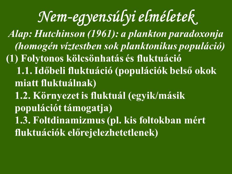 Nem-egyensúlyi elméletek Alap: Hutchinson (1961): a plankton paradoxonja (homogén víztestben sok planktonikus populáció) (1) Folytonos kölcsönhatás és